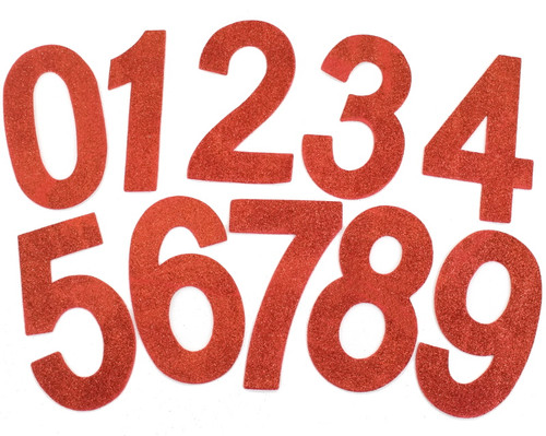 "6.5""  Red Self Adhesive Glitter Foam Numbers 0-9  - Pack of 60"