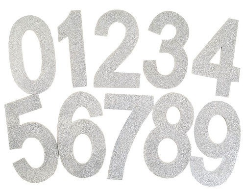 "6.5""  Silver Self Adhesive Glitter Foam Numbers 0-9  - Pack of 60"