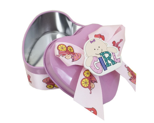 "2.5"" Pink Heart-Shaped Baby Shower Metal Tin Favor Box - Pack of 12"