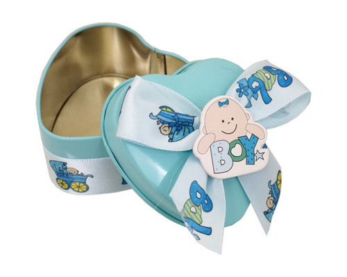 "2.5"" Blue Heart-Shaped Baby Shower Metal Tin Favor Box - Pack of 12"