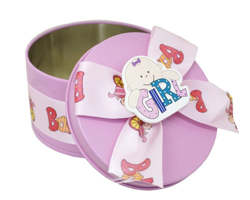 "3"" Pink Round Baby Shower Metal Tin Favor Box - Pack of 12"