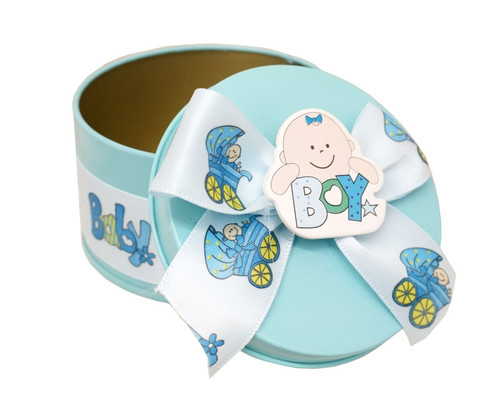 "3"" Blue Round Baby Shower Metal Tin Favor Box - Pack of 12"