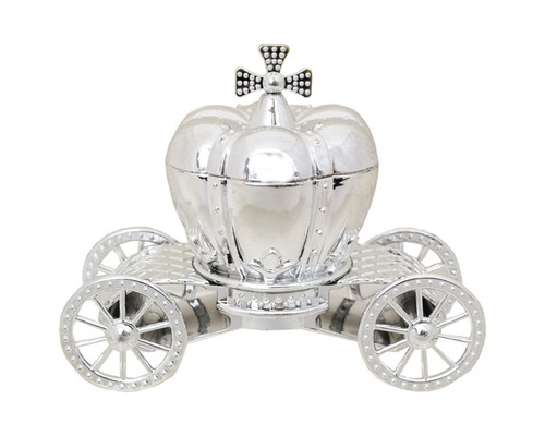 """4 1/4"""" Silver Pumpkin Carriage Ribbon Bow Favor Plastic Box  - Pack of 12"""