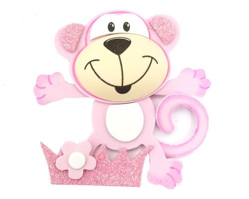 """3.75"""" Pink 3D Monkey Foamy  - Pack of 12 Foam Animal Decoration"""