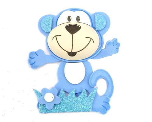 """3.75"""" Blue 3D Monkey Foamy  - Pack of 12 Foam Animal Decoration"""