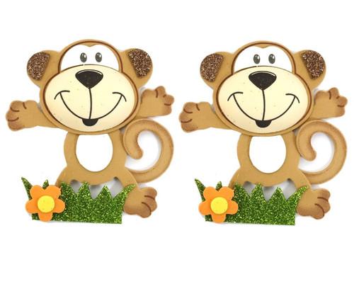 """2.75"""" Brown 3D Monkey Foamy  - Pack of 12 Foam Animal Decoration"""