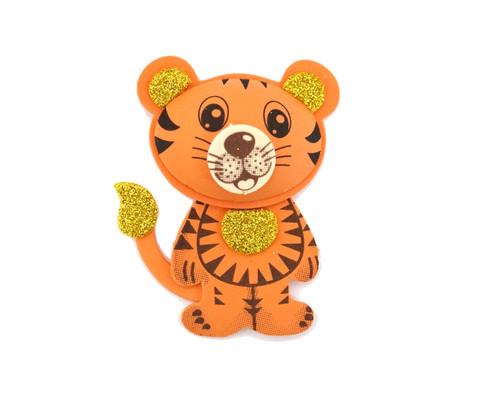 "3.75"" 3D Tiger Foamy  - Pack of 12 Foam Animal Decoration"