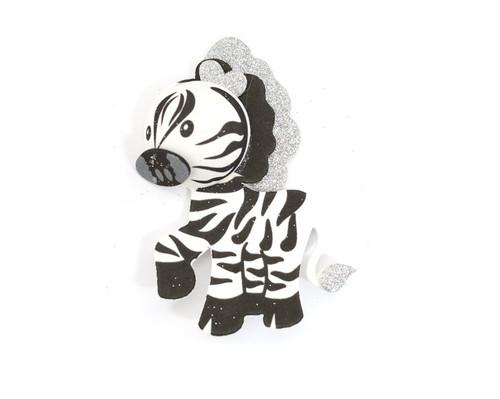 """3.75"""" 3D Zebra Foamy  - Pack of 12 Foam Animal Decoration"""