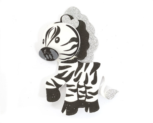 """7.25"""" 3D Zebra Foamy  - Pack of 6 Foam Animal Decoration"""