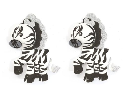 """2.75"""" 3D Zebra Foamy  - Pack of 12 Foam Animal Decoration"""