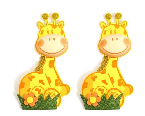 """3"""" 3D Giraffe Foamy  - Pack of 12 Foam Animal Decoration"""