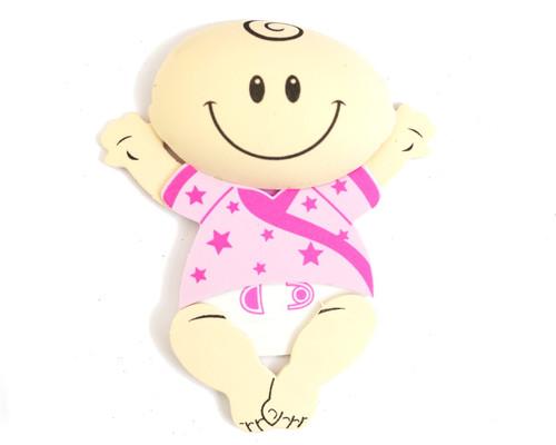 "6"" Pink 3D Baby Girl Foamy  - Pack of 6 Foam Decoration"