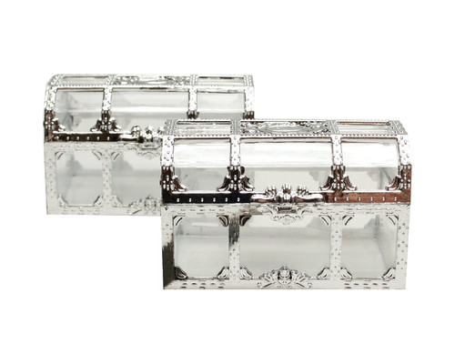 """2.5"""" Silver Treasure Chest Gift Favor Box - Pack of 12"""