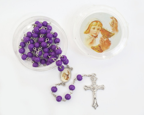 """19"""" Purple Girl's First Communion Scented Wood Rosary Favors - Pack of 12"""