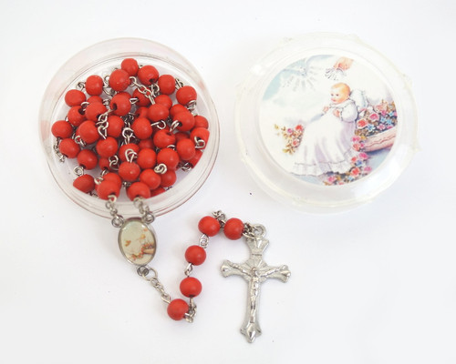 """19"""" Red Baptism Scented Wood Rosary Favors - Pack of 12"""