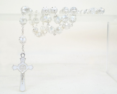 "25"" Silver AB Iridescent Glass Beads Rosary Favors - Pack of 12"