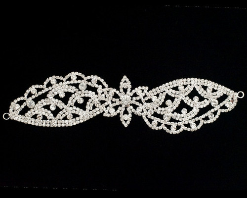 Flower Crystal Rhinestone Collar Bridal Trim - 1 Applique