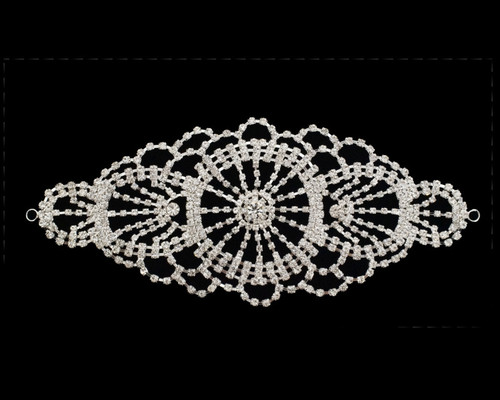 Silver Crystal Rhinestone Collar Bridal Trim - 1 Applique