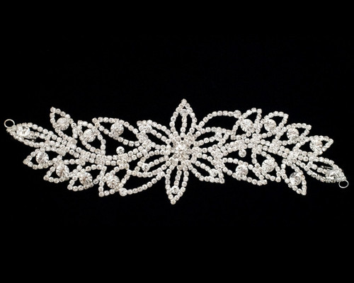 Silver Floral Crystal Rhinestone Collar Bridal Trim - 1 Applique
