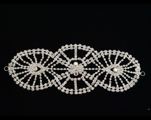 AB Silver Crystal Rhinestone Collar Bridal Trim  - 1 Applique