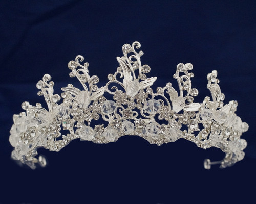 Silver Crystal Rhinestone Tiara  (TQ017)