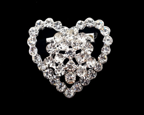 "1 1/4"" Silver Heart-Shaped Fashion Brooch Pin - Pack of 12"
