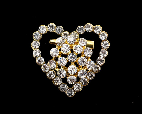 "1 1/4"" Gold Heart-Shaped Fashion Brooch Pin - Pack of 12"