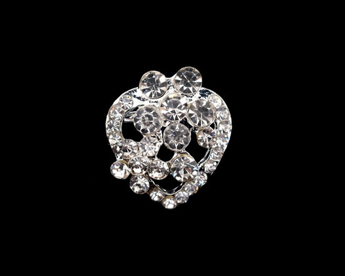 "0.8"" Silver Heart-Shaped Fashion Brooch Pin - Pack of 12"