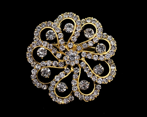 "2.5""  Gold Round Rhinestone Brooch Pin  - Pack of 12"