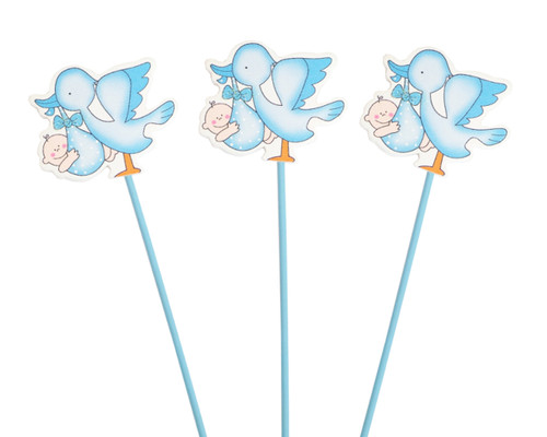 Blue Baby Shower Stork with Baby Wood Picks - Pack of 12