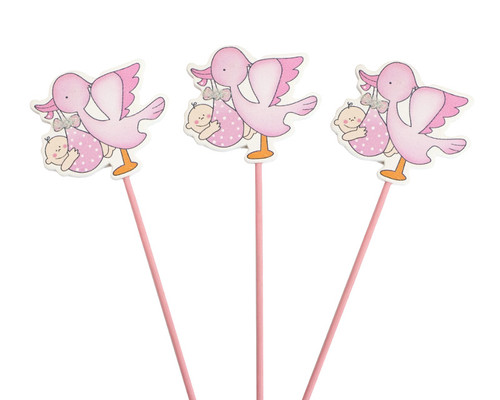 Pink Baby Shower Stork with Baby Wood Picks - Pack of 12