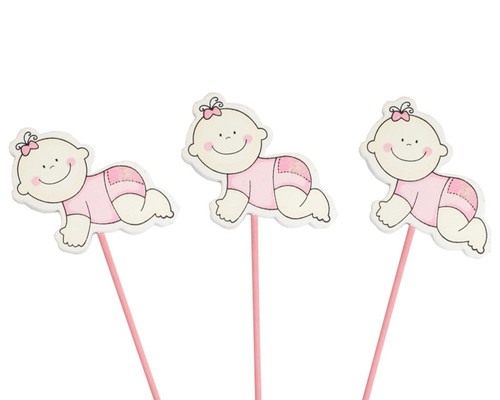 Pink Baby Shower Crawling Baby Girl Wood Picks - Pack of 12