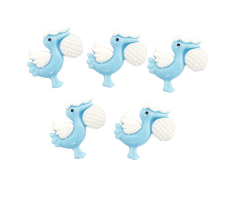 "3/4"" Blue Baby Shower Mini Plastic Polyresin Stork  - Pack of 100 Pieces"