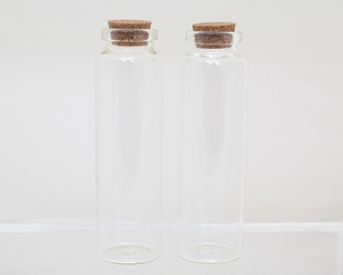 "4"" Round Tall Glass Bottle Favors with Cork Top - Set of 12 bottles"