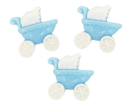"3/4"" Blue Baby Carriage Baby Shower Mini Plastic Polyresin   - Pack of 100 Pieces"