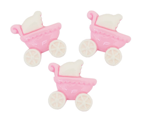 "3/4"" Pink Baby Carriage Baby Shower Mini Plastic Polyresin   - Pack of 100 Pieces"