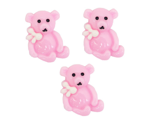 "3/4"" Pink Teddy Bear Baby Shower Mini Plastic Polyresin   - Pack of 100 Pieces"