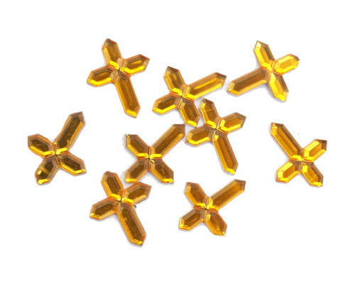 Miniature Gold Flat Back Acrylic Cross Rhinestones - Pack of 1000 Pieces