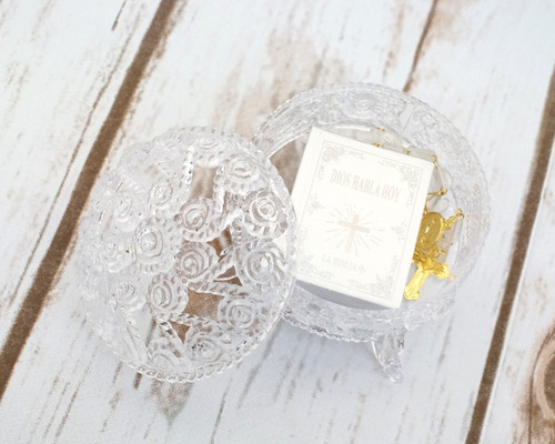 """2.25"""" Clear Round Carved Plastic Favor Box - Pack of 48"""