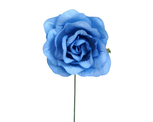 "2"" Blue Big Rose Paper Craft Flowers - Pack of 12"
