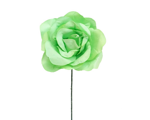 "2"" Apple Green Big Rose Paper Craft Flowers - Pack of 12"