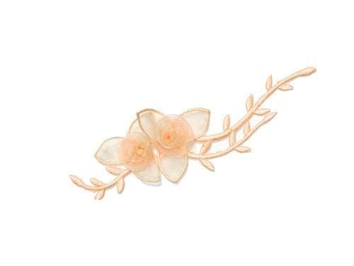 "7"" Peach Organza Patch Flower with Leaves - Pack of 12"