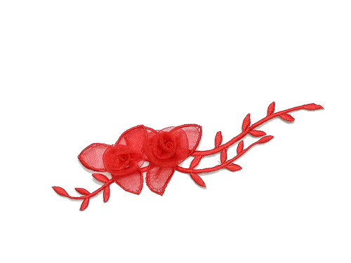"7"" Red Organza Patch Flower with Leaves - Pack of 12"