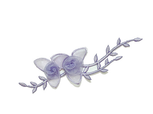 "7"" Lavender Organza Patch Flower with Leaves - Pack of 12"