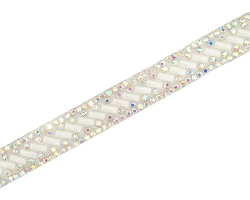 "1/2"" x 5 Yards Silver AB Pearl Iron-On Rhinestone Trim"