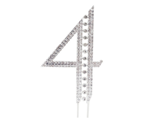 Silver Rhinestone Studded Cake Topper Number 4 - Pack of 3