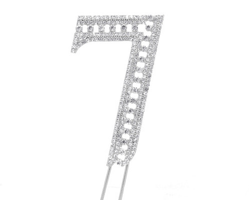 Silver Rhinestone Studded Cake Topper Number 7 - Pack of 3