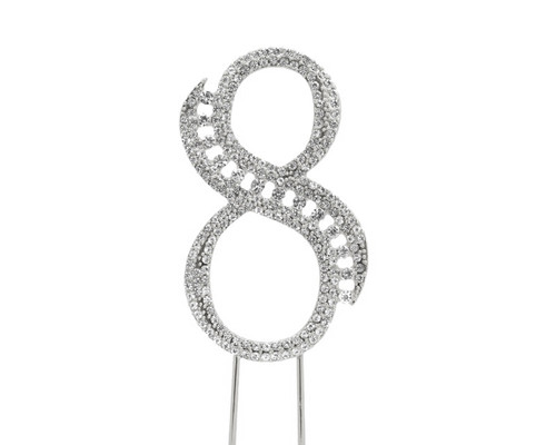 Silver Rhinestone Studded Cake Topper Number 8 - Pack of 3