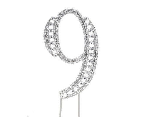 Silver Rhinestone Studded Cake Topper Number 9 - Pack of 3