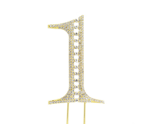 Gold Rhinestone Studded Cake Topper Number 1 - Pack of 3